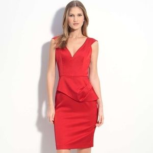 Black Halo Dame Jackie Satin Midi Dress Red 2